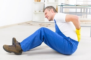 Worker in pain after a personal injury.