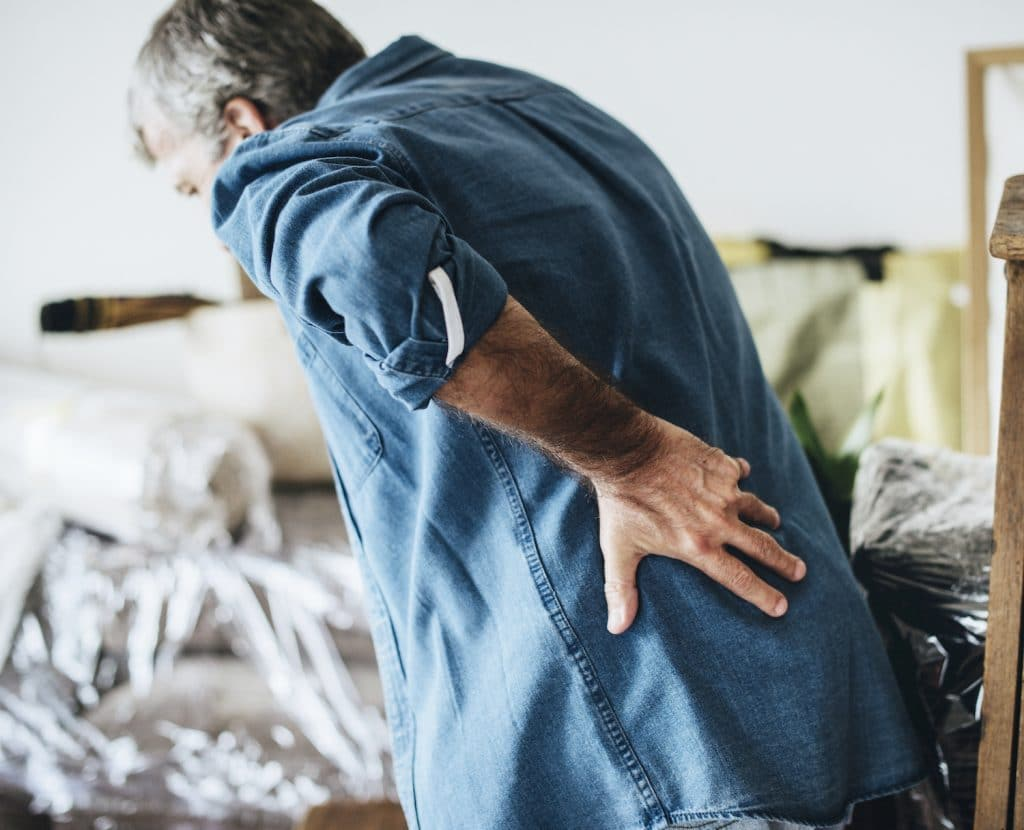 Senior man having a back pain
